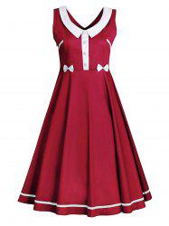 Sleeveless Plus Size  Flat Collar Vintage Dress