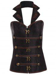 Halter Lace Up Corset Top - BROWN 2XL