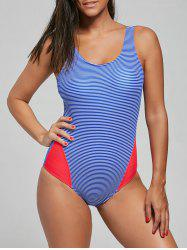 Lace-Up Striped One Piece Swimsuit - BLUE M