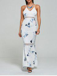 Hollow Out Floral Mermaid Slip Maxi Dress