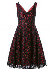 Low Cut Sleeveless Lace Floral Dress