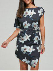 Asymmetric Shift Floral Dress with Belt -