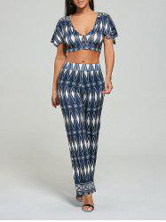 Tribal Print Crop Top+Palazzo Pants