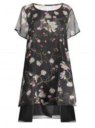 Peacock Print Plus Size Layered Chiffon Dress - BLACK 5XL