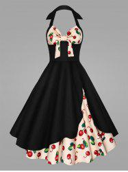 Plus Size Cherry Print Halter Pin Up Dress