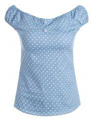 Off The Shoulder Polka Dot Slim Fit Top