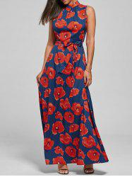 Belted Floral Print Maxi Dress