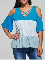 V Neck Criss Cross Cold Shoulder T-Shirt