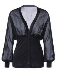 Single Breasted Low Cut Sheer Blouse