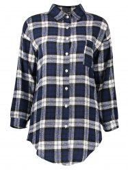 Button Up Flannel Long Plaid Shirt