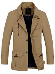 Button Pocket Single Breasted Coat - KHAKI 3XL