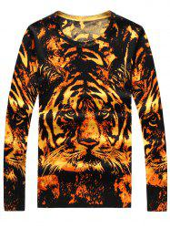 3D Tiger Print Crew Neck Long Sleeve Sweater