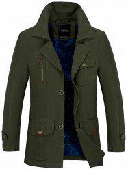 Button Pocket Single Breasted Coat - ARMY GREEN L