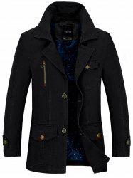 Button Pocket Single Breasted Coat - BLACK 4XL