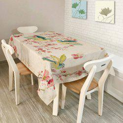 Bird Floral Print Kitchen Dining Table Cloth - COLORFUL