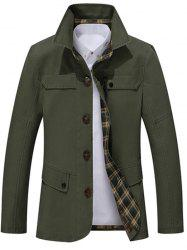 Single Breasted Snap Button Pocket Coat - GREEN 4XL