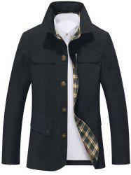 Single Breasted Snap Button Pocket Coat - BLACK L