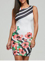 Sleeveless Floral Stripes Pencil Dress