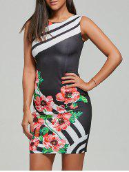 Sleeveless Floral Stripes Bodcyon Dress