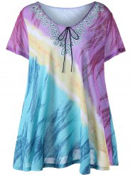 Printed Plus Size Tunic Top - COLORMIX