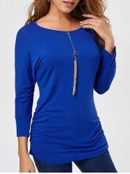 Long Sleeve Scrunch Tunic Sweater - DEEP BLUE