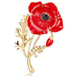 Plating Showy Flower Shape Brooch - RED