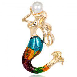 Artificial Pearl Plated Mermaid Shape Brooch - GOLDEN
