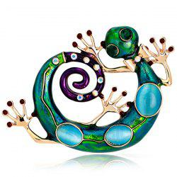 Rhinestone Inlaid Enamel Retro Lizard Brooch - GREEN
