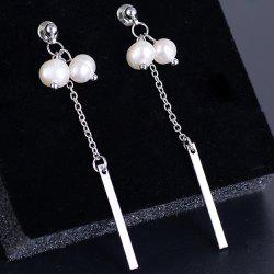 Metal Link Chain Stick Faux Pearl Drop Earrings