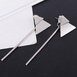 Double Trangle Metallic Stick Drop Earrings