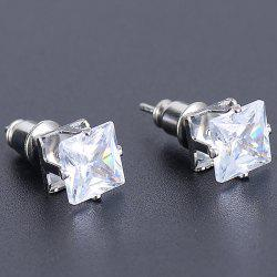 Faux Diamond Square Stud Earrings - Argent