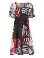 Plus Size Funny Drawing Smock Dress with Pockets