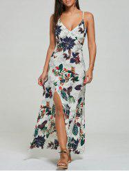 Maxi Print High Slit Slip Ankle Length Dress - Blanc Cassu00e9