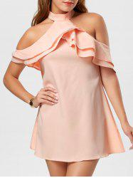 Ruffle Cold Shoulder Trapeze Mini Dress - PINK