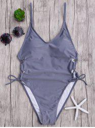 High Cut Backless Lace Up Swimsuit - GRAY XL