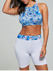 Floral High Waisted Sport Two Piece Swimsuit