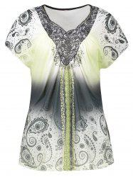 Plus Size V Neck Printed Top