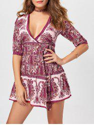 V Neck Paisley Print Wrap Dress - JACINTH