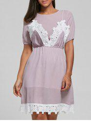 Laced Textured Knee Length Dress