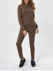 Plain Long Sleeve Sweatshirt+Drawstring Pants