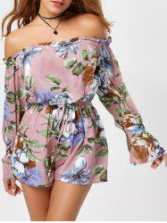Floral Off The Shoulder Long Sleeve Romper