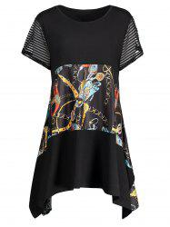 Plus Size Graphic Funny Asymmetric Tunic T-shirt