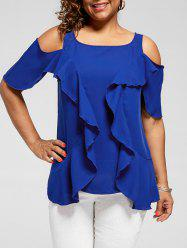 Plus Size Ruffle Cold Shoulder Blouse