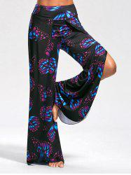 Butterfly Print High Slit Palazzo Pants