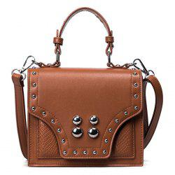 Rivet Flapped Faux Leather Handbag