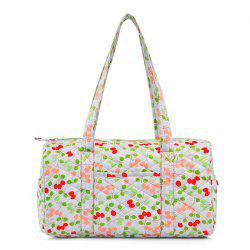 Quilted Printed Shoulder Bag - WHITE