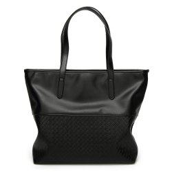Faux Leather Woven Shopper Bag - BLACK