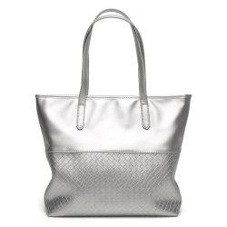 Faux Leather Woven Shopper Bag