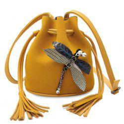 Drawstring Dragonfly Embellished Bucket Bag