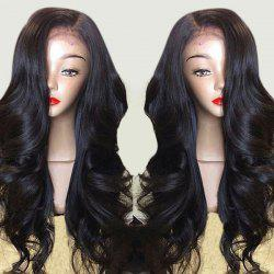 Long Side Part Layered Body Wave Lace Front Synthetic Wig - BLACK